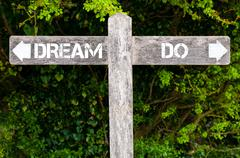 DREAM versus DO directional signs Stock Photos