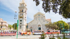 Duomo Cathedral and Tower in Messina Sicily Italy Stock Footage