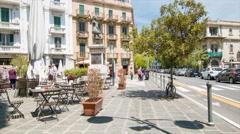 Messina Sicily Street Scene at Piazza SS. Annunziata dei Catalani Stock Footage