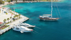Yachts in the Clear Blue Water of Bodrum Turkey Stock Footage