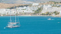 Bodrum Turkey Coastal Resort Town with Yachts Stock Footage