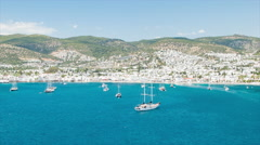Wide Panoramic Shot over Bodrum Turkey Stock Footage