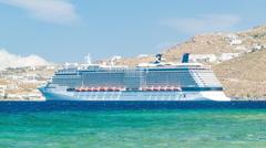 Celebrity Reflection Cruise Ship Docked in Mykonos Greece Stock Footage