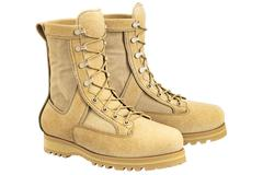 Military boots with shoelace, beige Stock Illustration