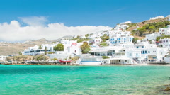 Vibrant Scene of Mykonos Island in Greece Stock Footage