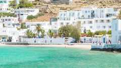 Scenic Greek Island Scene on Mykonos Greece Stock Footage