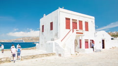 Historical Greek Buildings on Mykonos Island in Greece Stock Footage