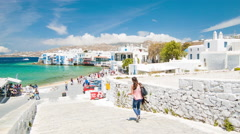 Picturesque Little Venice Scene in Mykonos Town Greece Stock Footage