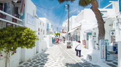 Town Streets of Mykonos Greece Stock Footage