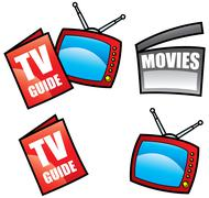 TV Guide and Television Stock Illustration