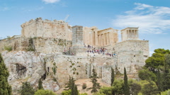 Acropolis in Athens Greece Full Shot of Propylaea Stock Footage