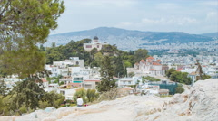 View of Athens Greece from Areopagus Hill Stock Footage