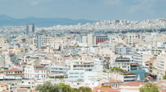 Athens Greece Close-up Panning Over City Buildings Stock Footage