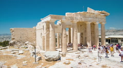 Acropolis Hill in Athens Greece at the Propylaia Stock Footage