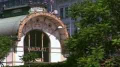 Karlsplatz metro hub entrance pavilion Stock Footage