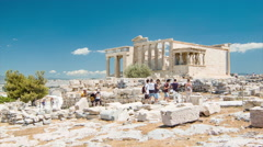 Erechtheion at the Acropolis in Athens Greece Stock Footage