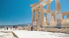Tourists Sightseeing Parthenon in Athens Greece Stock Footage
