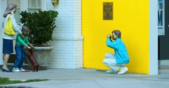 Memorial and statue of the man taking picture of his family in Beverly Hills 4K Stock Footage