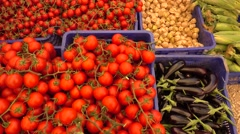 Boxes of vegetables on natural products market Stock Footage