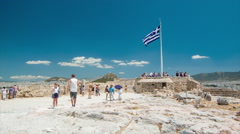 Tourist Overlook from the Acropolis in Athens Greece Stock Footage