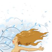 Girl with the wind Stock Illustration
