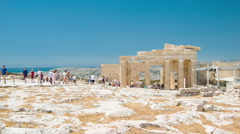 Tourists on Top of The Acropolis Hill in Athens Greece Stock Footage