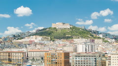 Castel Saint Elmo with City Buildings in Naples Italy Stock Footage