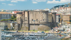 Castel Nuovo in Naples Italy Stock Footage