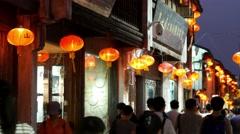 SUZHOU, CHINA, evening old town street lanterns Stock Footage