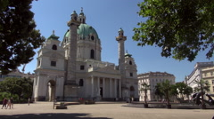 Karlskirche, St. Charles's Church, in Vienna, Austria. Stock Footage