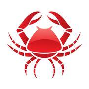 Red glossy crab Stock Illustration