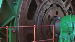 Big winch drum rotating. Huge mechanical machine. Mine lifting system. Stock Footage