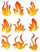 Nine fire icon Stock Illustration