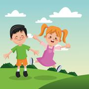 Group of happy boys and girls cartoon kids Stock Illustration