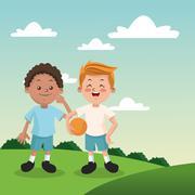 Group of happy boys cartoon kids Stock Illustration