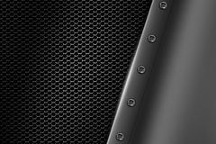 Chrome metal background with rivet on gray metallic mesh. Stock Illustration