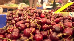 Close up sweet cherry at the market. Stock Footage