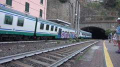 The train represents the best way to visit Riomaggiore. Stock Footage