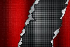Red and white carbon fiber tear on the black metallic mesh. Stock Illustration