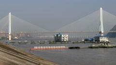 China Yichang Yangtze river bridge & river waterfront Stock Footage