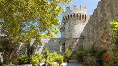 Rhodes Greece Palace of the Grand Master Outer Walls Stock Footage