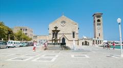 Rhodes Greece Ekklisia Evaggelismos Greek Orthodox Church Stock Footage