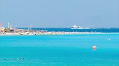 Blue Mediterranean at Eli Beach in Rhodes Greece Stock Footage