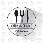 Catering service restaurant and menu design Stock Illustration