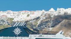 Santorini Greece Cruise Ship Pollution Stock Footage