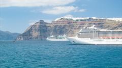 Cruise Ships Anchored at Santorini Greece Stock Footage