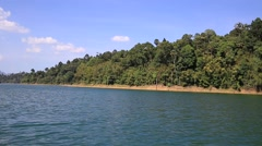 View Sitting In A Boat Travel In Lake At Khao Sok National Park , Thailand Stock Footage