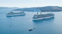 Santorini Greece Visiting Cruise Ships Anchored Stock Footage