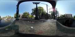 Virtual Reality 360 view around the canals from a bridge with tourists Stock Footage