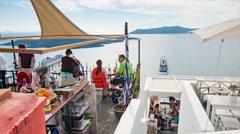 Santorini Greece Dramatic Restaurant View Stock Footage